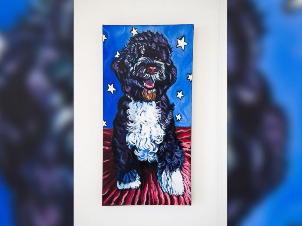 PHOTO: A painting of a Portuguese Water Dog is seen in the vacation home where President Obama and his family are vacationing in Chilmark, Massachusetts.