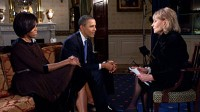 President Barack Obama and First Lady Michelle Obama tape an interview