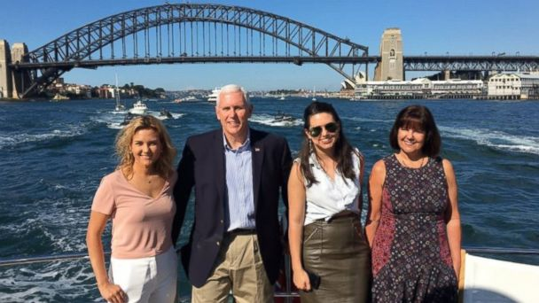 PHOTO: Vice President Mike Pence flanked by daughters Charlotte and Audrey, and second lady Karen Pence, on board The Enigma in Sydney Harbour in Sydney, Australia, on April 23, 2017.