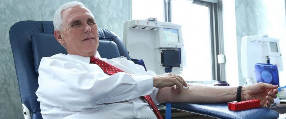 PHOTO: Mike Pence tweeted this photo of himself donating blood at a blood bank on Capitol Hill on June 20, 2017, held in honor of the victims of the Alexandria shooting.