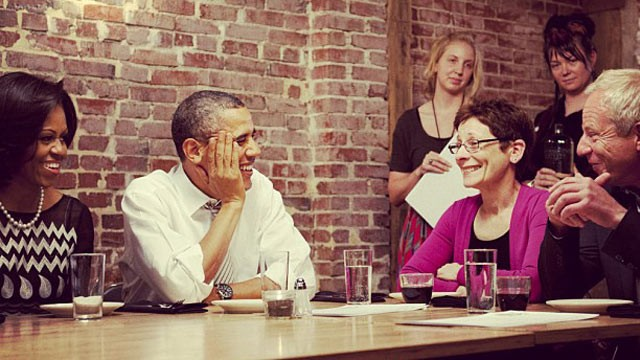 "PHOTO: The Obama campaign posted this photo on Instagram, ""Around the table tonight: Cathleen & John, Judy & Mitch, ReGina & Bob, Barack & Michelle. #DinnerWithBarack"""