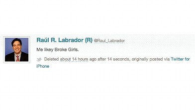 "PHOTO: Rep. Raul Labrador tweeting about his opinion of the Super Bowl commercial for television show ""2 Broke Girls."""