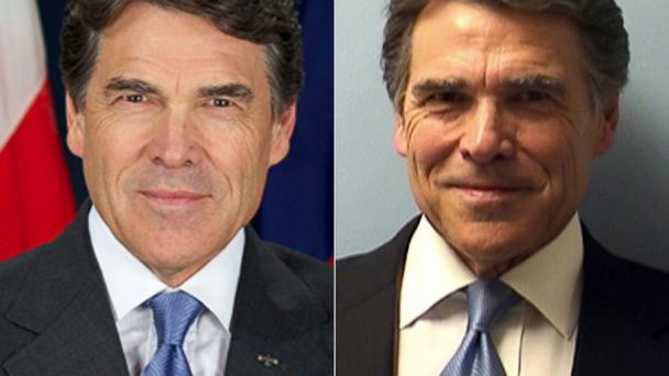 ht rick perry split mt 140820 16x9 608 Rick Perrys Mugshot vs. Official Governors Portrait, Which Is Better?