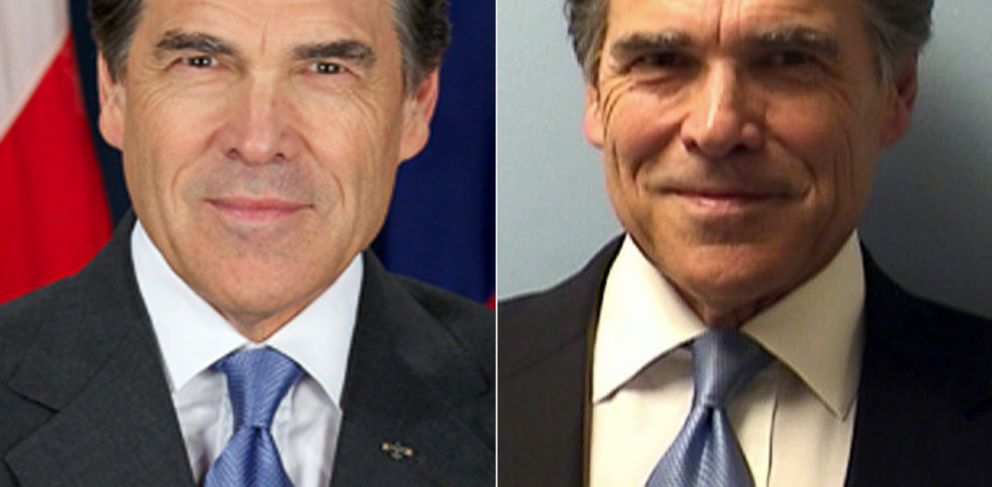 PHOTO: Left, Texas Governor Rick Perry poses for his official portrait. Right, Perrys mug shot taken on August 19, 2014 after the Governor was indicted on two felony charges for an alleged abuse of power.