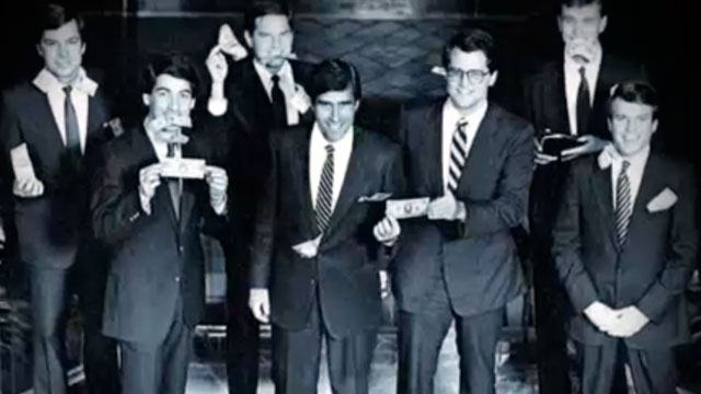 PHOTO: Priorities USA Action, the pro-Obama group, is releasing a new television and online ad campaign showing Mitt Romney and his colleagues at Bain Capital in 1985 celebrating the closing of their first fund with money coming out of their pockets.