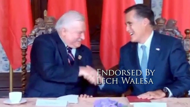 PHOTO: Mitt Romney shakes hands with Lesh Walesa in this Romney Campaign video.