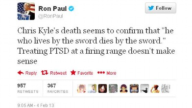 PHOTO: Rep. Ron Paul tweeted this controversial message about Chris Kyle's death on Feb. 4, 2013.