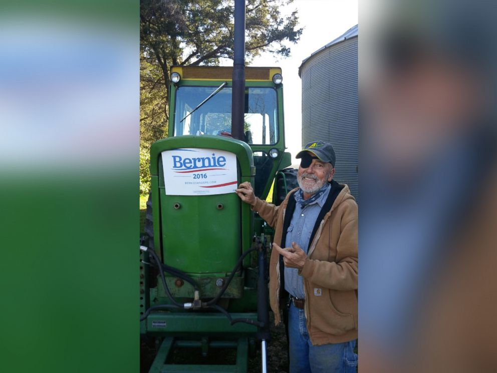 PHOTO: Mike Pattavina plowed a Bernie sign in his Iowa soybean field.