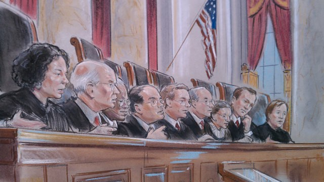 PHOTO: Supreme Court arguments from day one of the health care reform, March 26, 2012.