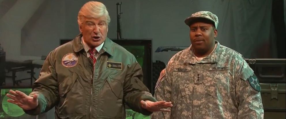 """PHOTO: Alec Baldwin spoofs President Donald Trump in the March 11, 2017, episode of """"Saturday Night Live,"""" alongside cast member Kenan Thompson."""