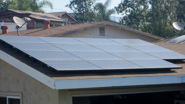 PHOTO: Solar panels are seen on the garage of the Christensen home in Lakeside, California.