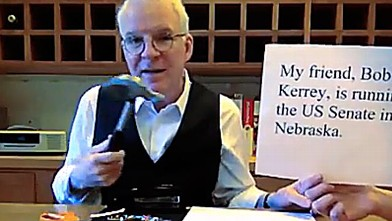 PHOTO: Steve Martin endorses Bob Kerrey in this YouTube clip.