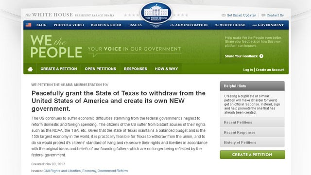 "PHOTO: A petition for Texas to secede from the union, submitted to the White House, states, ""Peacefully grant the State of Texas to withdraw from the United States of America and create its own NEW government."""