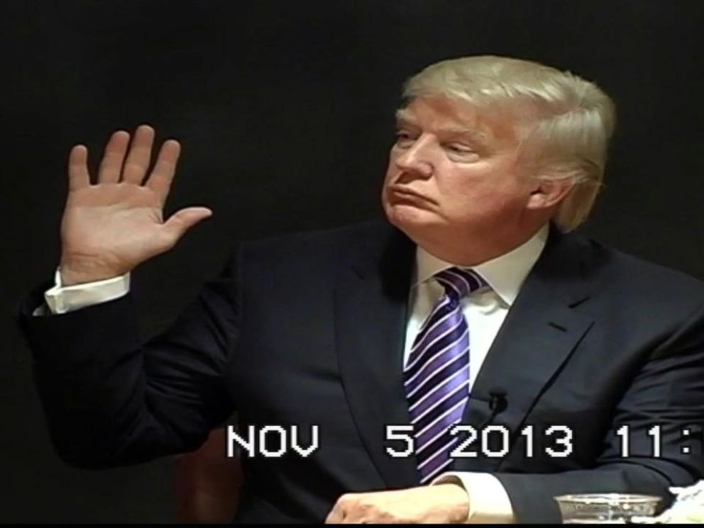 PHOTO: Donald Trump is deposed under oath during a civil lawsuit in November 2013.