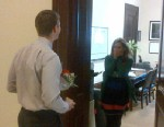"PHOTO: Virgina Senator Mark Warner tweeted this image of one of his staffers, Beth Adelson, engagement proposal, with caption, ""MT ‏@NWaghornAP: She said yes RT @brett_wanamaker: @MarkWarner @bethaleh Beth Ellen Adelson, will you marry me?"" on Marc"