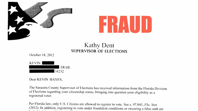 PHOTO: The Advancement Project provided ABC News with a letter from Sarasota County, Fla. accusing its recipient of voter fraud.