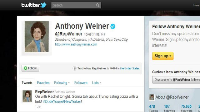 PHOTO: Rep. Anthony Weiner's twitter profile page.