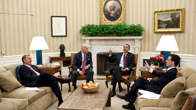 PHOTO: President Barack Obama and Vice President Joe Biden meet with House Speaker John Boehner and House Majority Leader Eric Cantor in the Oval Office to discuss ongoing efforts to find a balanced approach to the debt limit and deficit reduction on July