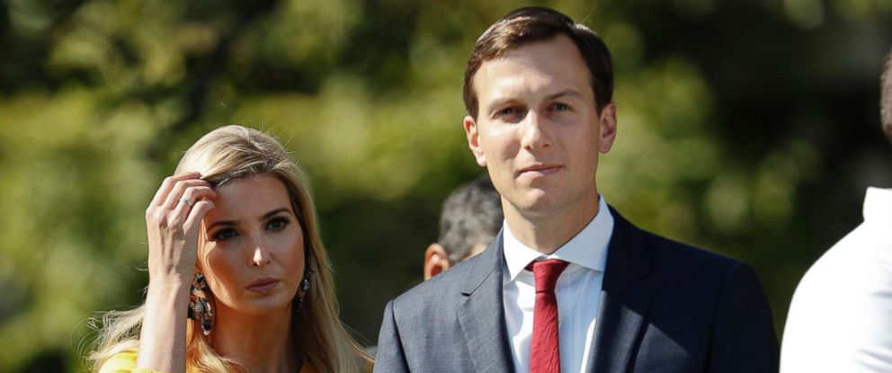 PHOTO: Ivanka Trump and Jared Kushner, walk on the South Lawn of the White House before taking part in a moment of silence to remember the victims of the mass shooting in Las Vegas, Oct. 2, 2017.