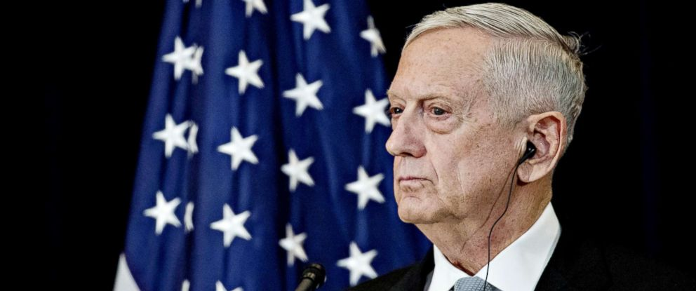 PHOTO: James Mattis, U.S. secretary of defense, listens at a news conference at the State Department in Washington, D.C., Aug. 17, 2017.