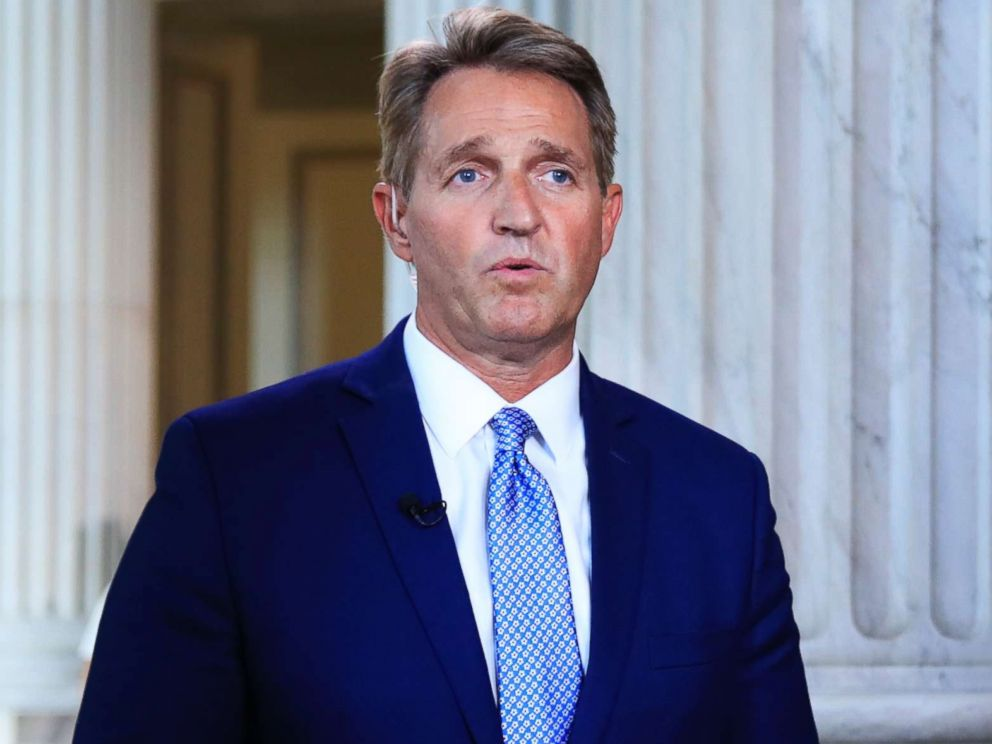 PHOTO: Sen. Jeff Flake speaks during a television interview on Capitol Hill in Washington, D.C., Oct. 24, 2017.