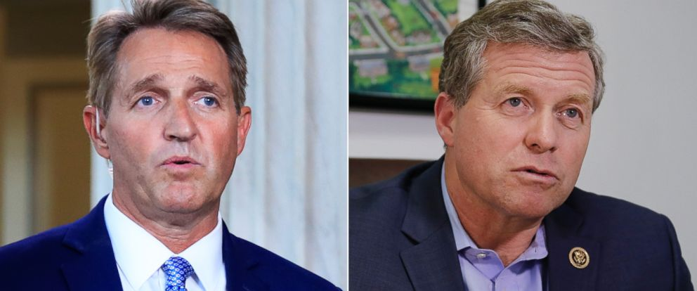 PHOTO: Pictured (L-R) are Sen. Jeff Flake in Washington, D.C., Oct. 24, 2017 and Rep. Charlie Dent in Allentown, Pa., Nov. 2, 2016.