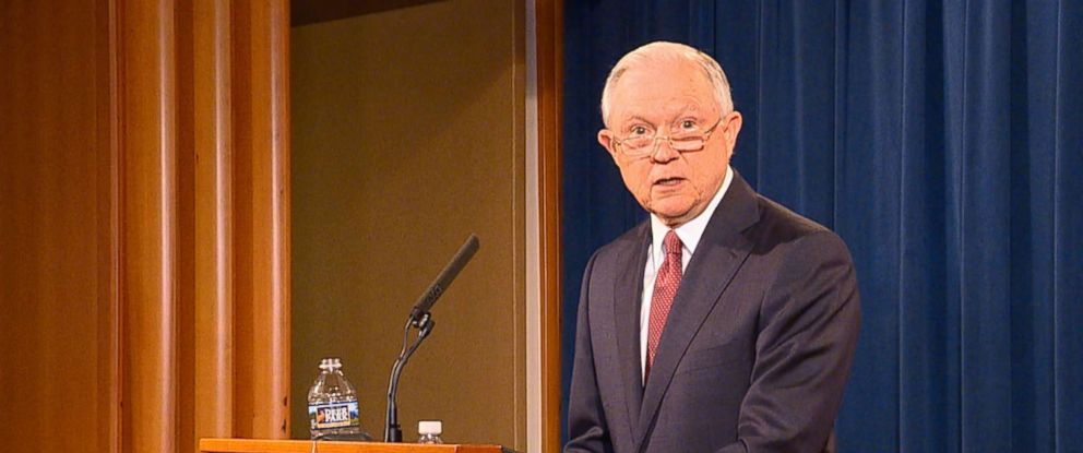 PHOTO: Attorney General Jeff Sessions speaks at a press conference at the Department of Justice, Sept. 5, 2017 in Washington, DC.