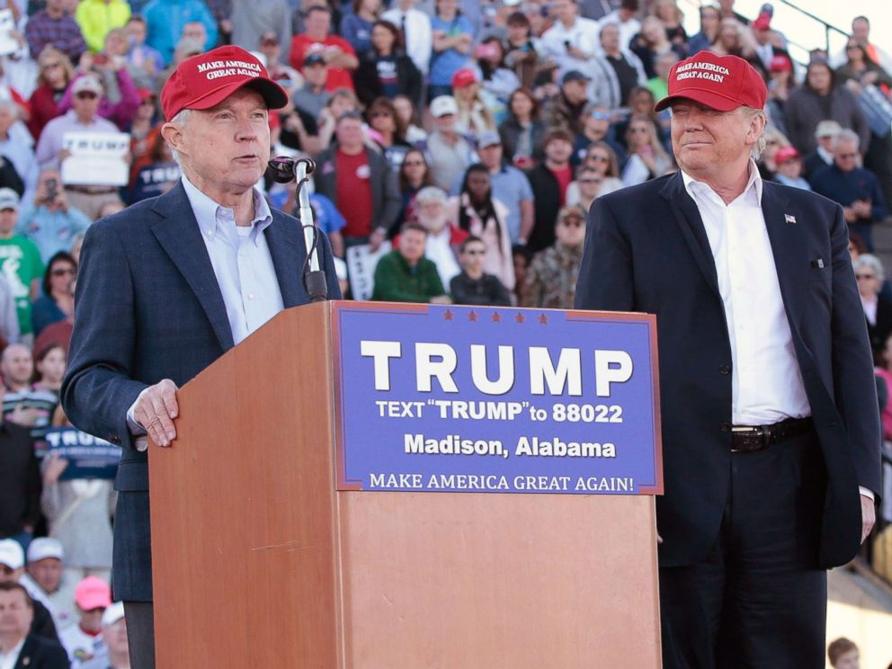 PHOTO: Senator Jeff Sessions becomes the first Senator to endorse Donald Trump for President of the United States at Madison City Stadium on Feb. 28, 2016 in Madison, Alabama.
