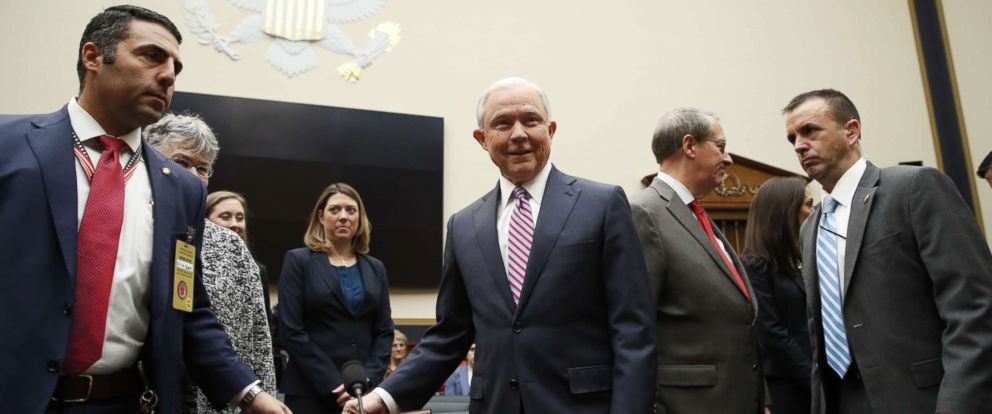 PHOTO: Attorney General Jeff Sessions arrives before the House Judiciary Committee on Capitol Hill, Nov. 14, 2017, in Washington.