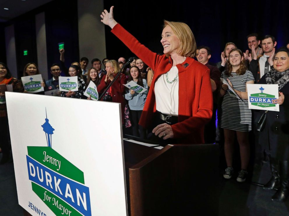 PHOTO: Seattle mayoral candidate Jenny Durkan concludes her remarks at an election night party, Nov. 7, 2017, in Seattle. Durkan won the election and will become Seattles first openly lesbian mayor and the first female mayor in 90 years.