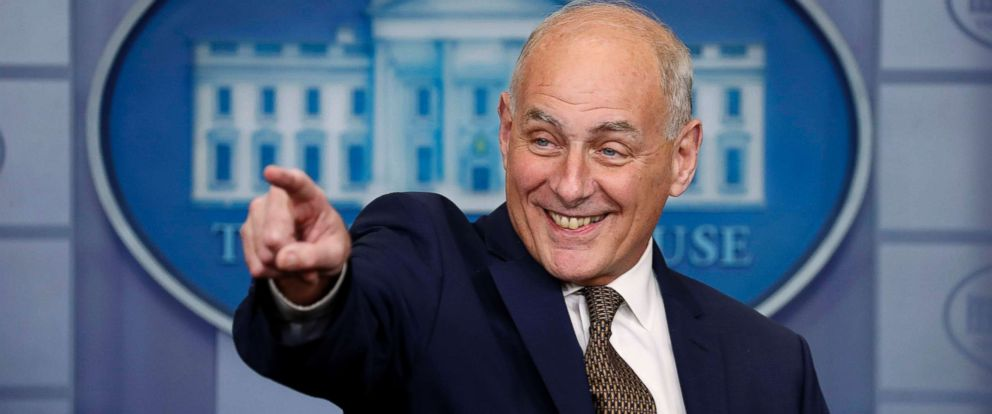 PHOTO: White House Chief of Staff John Kelly smiles as he takes questions from the media while addressing the daily briefing at the White House in Washington, Oct. 12, 2017.