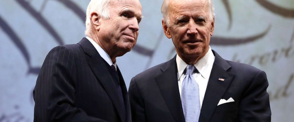 PHOTO: Sen. John McCain, R-Ariz., receives the Liberty Medal from Chair of the National Constitution Centers Board of Trustees, former Vice President Joe Biden in Philadelphia, Oct. 16, 2017.
