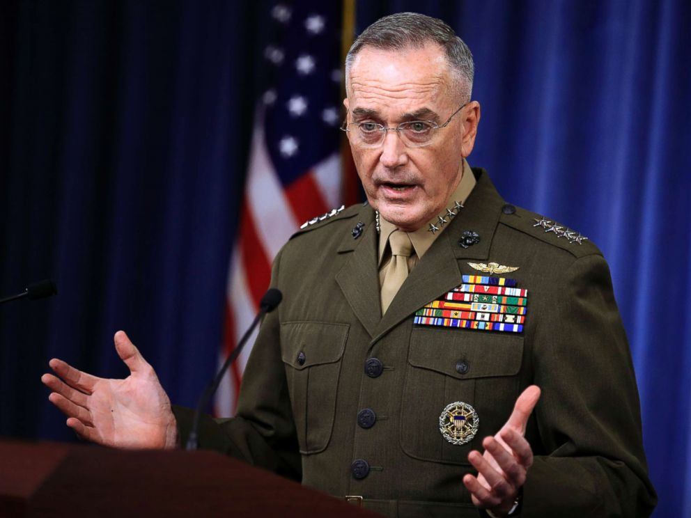 PHOTO: Joint Chiefs Chairman Gen. Joseph Dunford, speaks to reporters about the Niger operation during a briefing at the Pentagon, Oct. 23, 2017.