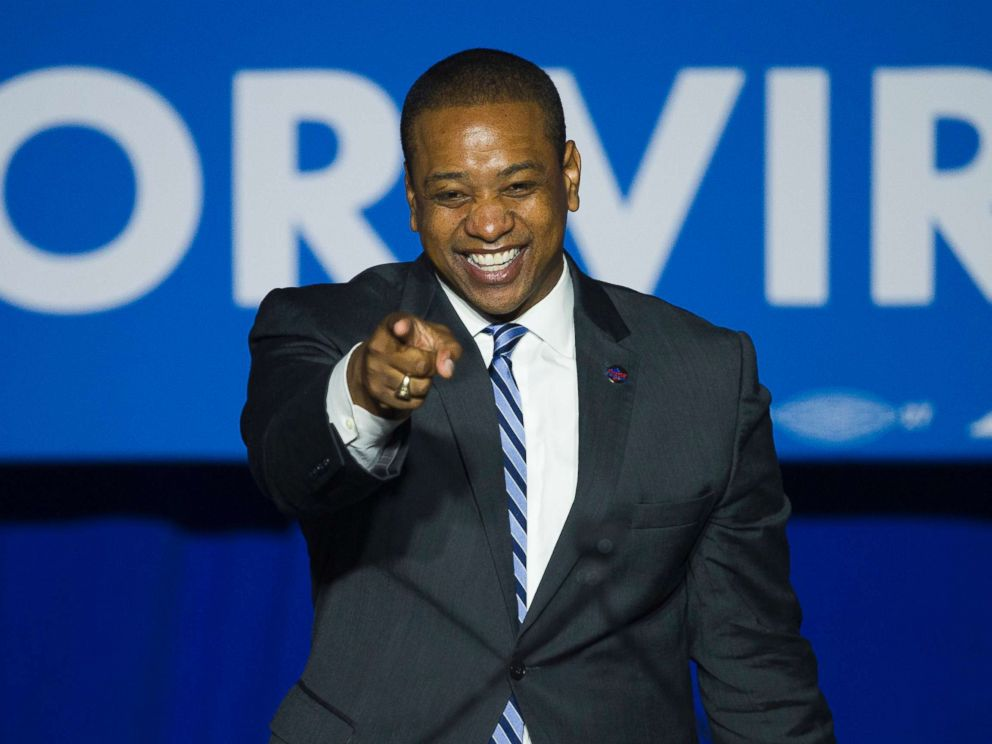 PHOTO: Democrat Lt. Gov.-elect Justin Fairfax addresses the Ralph Northam For Governor election night party at George Mason University in Fairfax, Va., Nov. 7, 2017. Fairfax is the first African-American to win a statewide office in Virginia since 1989.
