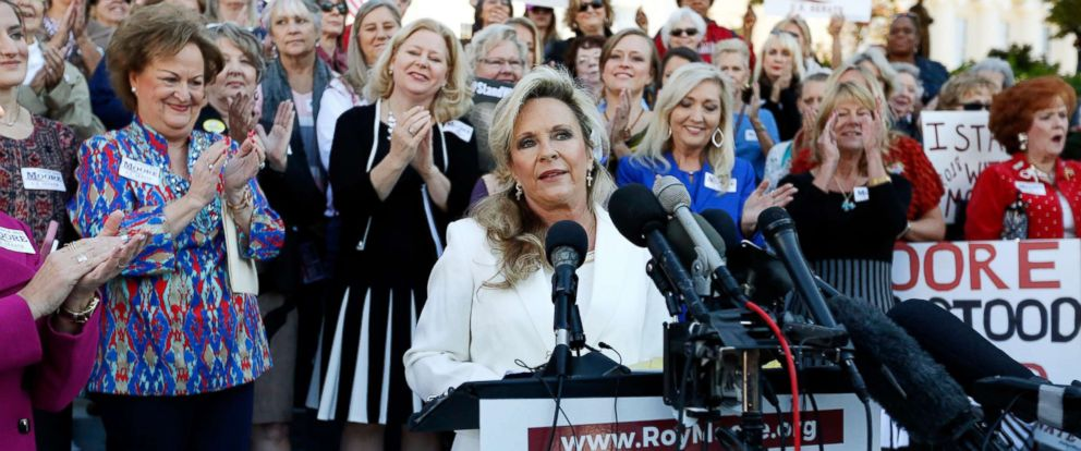 PHOTO: Kayla Moore, wife of former Alabama Chief Justice and U.S. Senate candidate Roy Moore, speaks at a press conference, Friday, Nov. 17, 2017, in Montgomery, Ala.