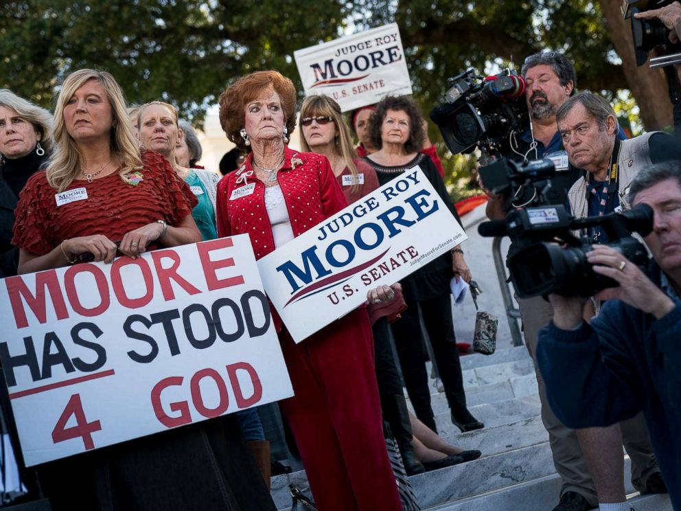 PHOTO: Women attend a Women For Moore rally in support of Republican candidate for Senate Judge Roy Moore, in front of the Alabama State Capitol, Nov. 17, 2017 in Montgomery, Ala.