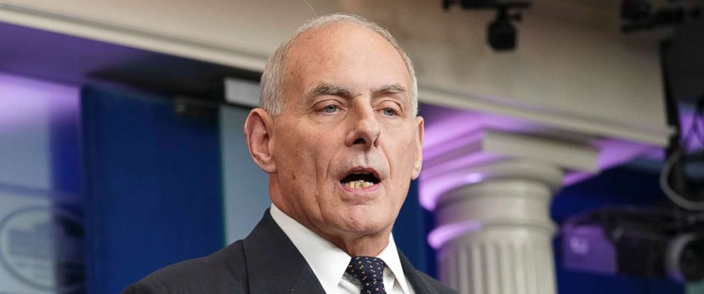 PHOTO: White House Chief of Staff John Kelly speaks to the media during the daily briefing in the Brady Press Briefing Room of the White House, Oct. 19, 2017.