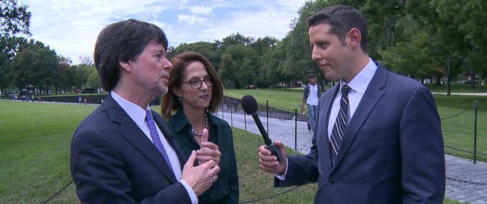 PHOTO: Ken Burns, left, speaks with ABC News Rick Klein in Washington, Sept. 12, 2017.