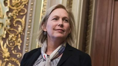 'PHOTO: Sen. Kirsten Gillibrand, D-N.Y., leaves the Democratic Senate Policy luncheon in the Capitol, Dec. 12, 2017, in Washington.' from the web at 'http://a.abcnews.com/images/Politics/kirsten-gillibrand-senate-luncheons-nc-mem-171213_16x9t_384.jpg'