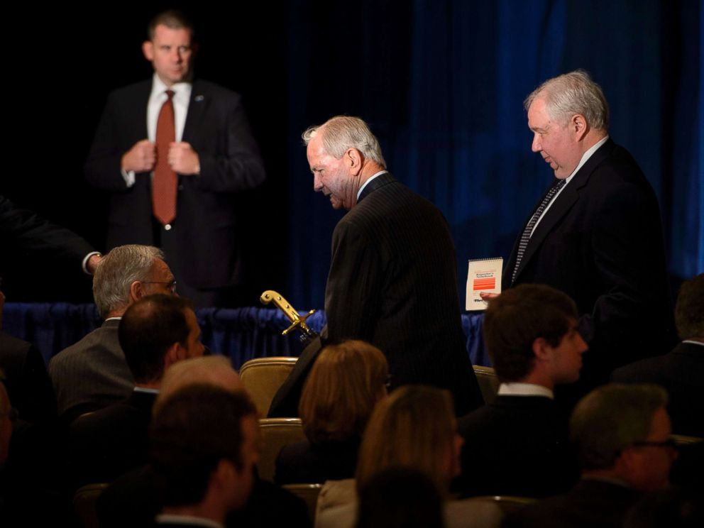 PHOTO: Former National Security Advisor Robert Carl McFarlane and Russian Ambassador to the U.S. Sergey Kislyak,right, arrive for a speech on foreign policy by Donald Trump at the Mayflower Hotel in Washington, D.C., April 27, 2016.