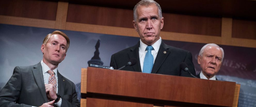 PHOTO: From left, Sens. James Lankford, R-Okla., Thom Tillis, R-N.C., and Orrin Hatch, R-Utah, hold a news conference in the Capitol on the Succeed Act, which would create a pathway to citizenship for undocumented immigrants on Sept. 25, 2017.