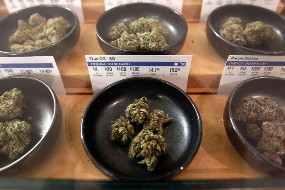 PHOTO: Different types of marijuana on display at Harborside marijuana dispensary in Oakland, Calif., Jan. 1, 2018.