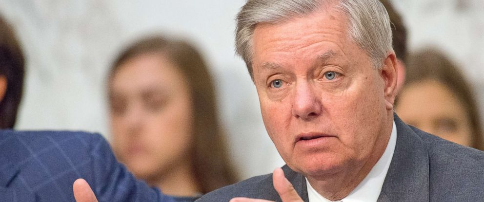 PHOTO: Senator Lindsey Graham questions the witnesses during the US Senate Committee on the Judiciary oversight hearing on Capitol Hill in Washington, July 26, 2017.