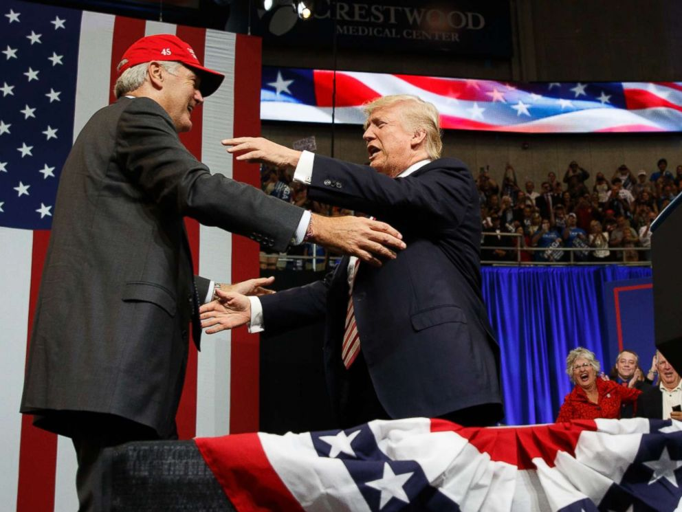 PHOTO: President Donald Trump hugs U.S. Senate candidate Luther Strange during a campaign rally, Friday, Sept. 22, 2017, in Huntsville, Ala.