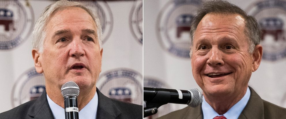 PHOTO: Luther Strange, left, and Roy Moore speak during the U.S. Senate candidate forum held by the Shelby County Republican Party in Pelham, Ala., Friday, Aug. 4, 2017.