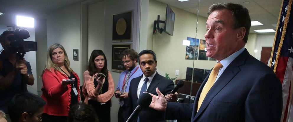 PHOTO: Sen. Mark Warner (D-VA), Senate Intelligence Committee ranking member, speaks to the media about todays committee staff members meeting with two Twitter officials, Sept. 28, 2017, in Washington.