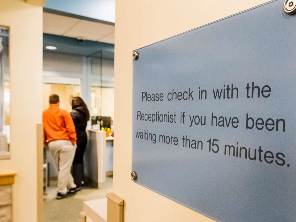 Portland Press Herald via Getty Images FILEPeople stand in the reception area of a health care provider in Maine Jan. 20 2016