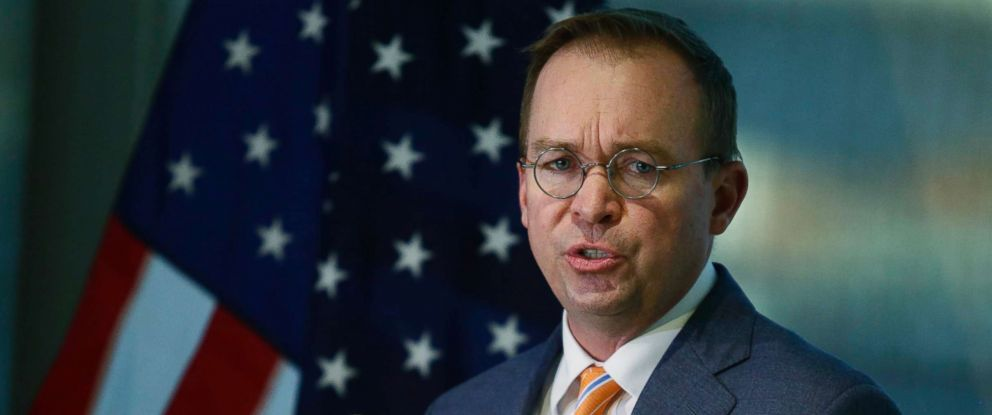 PHOTO: Office of Management and Budget (OMB) Director Mick Mulvaney speaks to the media at the Consumer Financial Protection Bureau (CFPB) in Washington, D.C., Nov. 27, 2017.