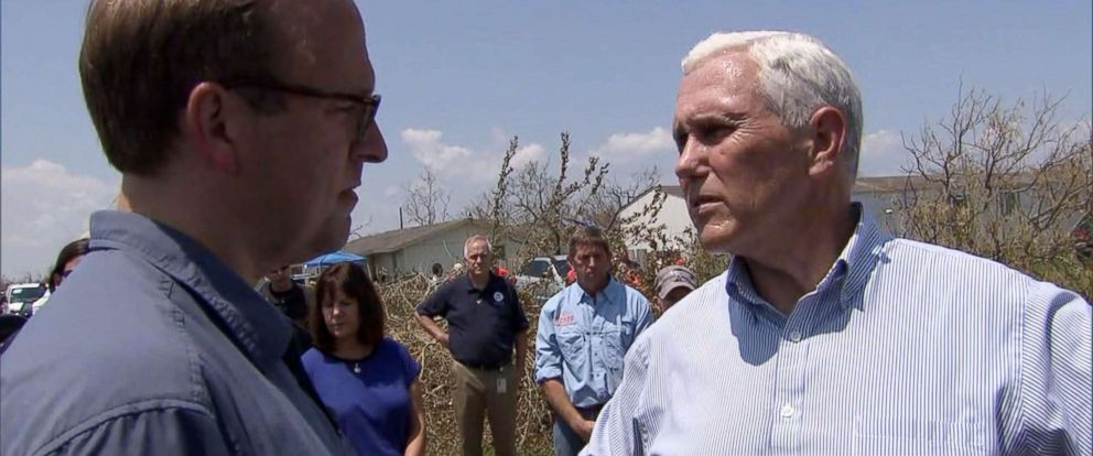 PHOTO: Vice President Mike Pence talks to ABCs Jonathan Karl during a visit to Texas to see the people and area impacted by Hurricane Harvey, Aug. 31, 2017.