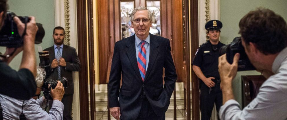 PHOTO: On a day that promises to be long, Senate Majority Leader Mitch McConnell leaves the floor during votes concerning the Republican version of the healthcare bill on Capitol Hill in Washington, July 27, 2017.